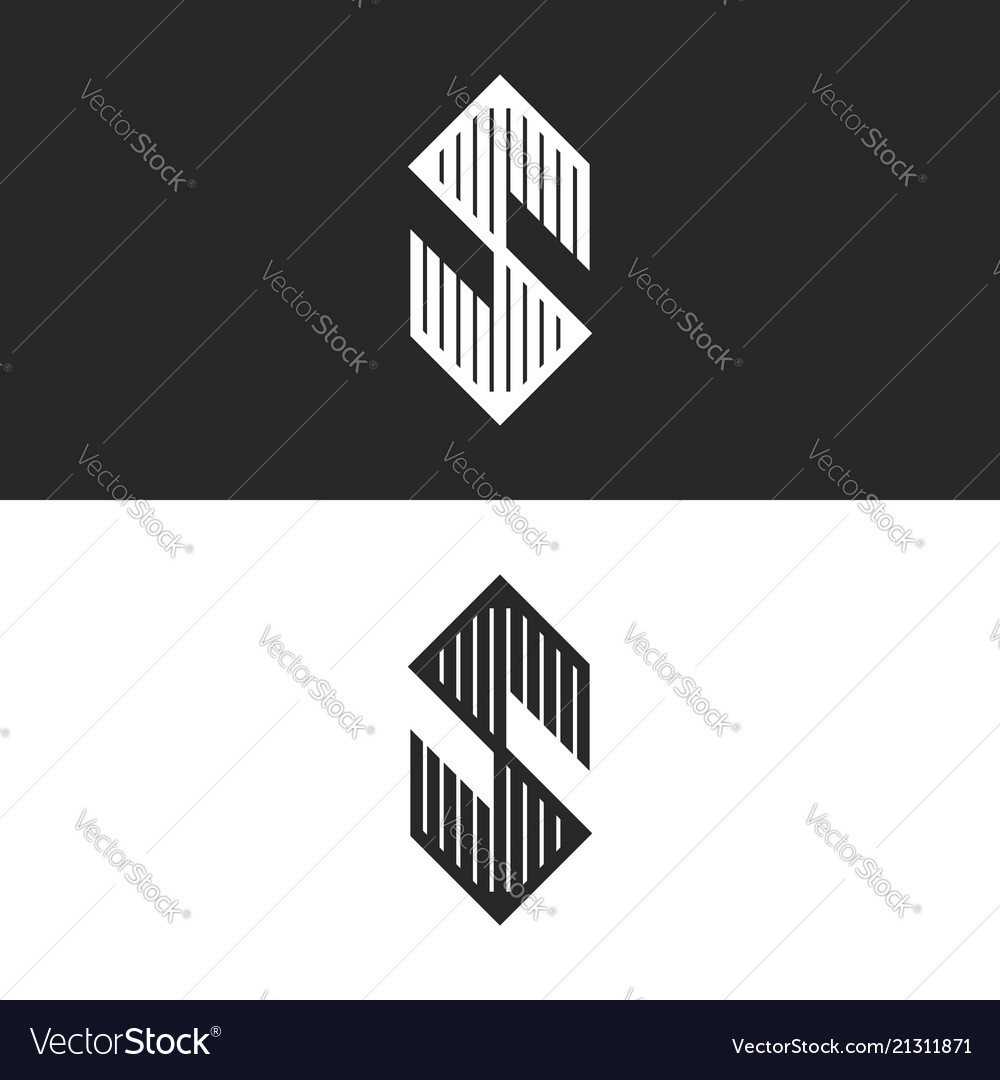 Hexagon shape letter s logo linear angular symbol