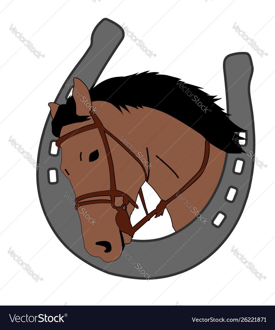 Horse head in horseshoe logo design