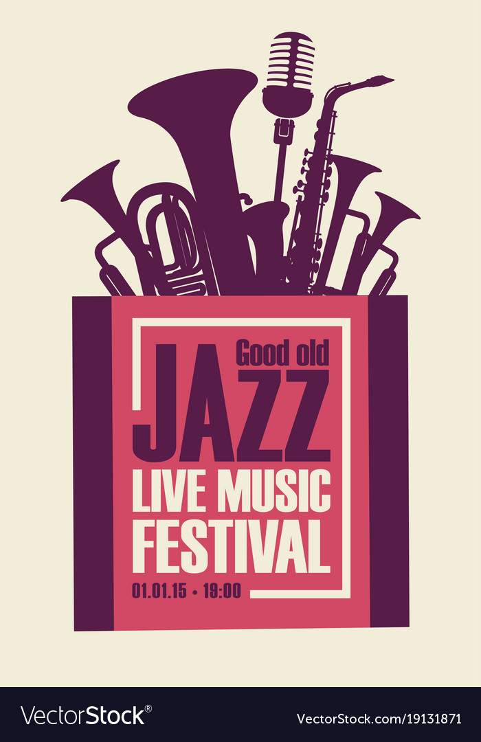 jazz festival poster with wind instruments and mic vector image