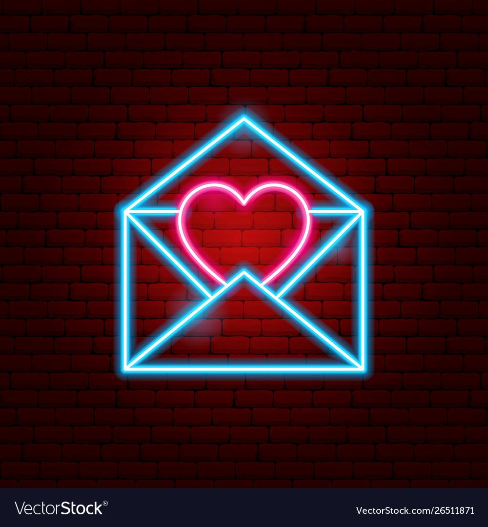 Letter heart neon sign