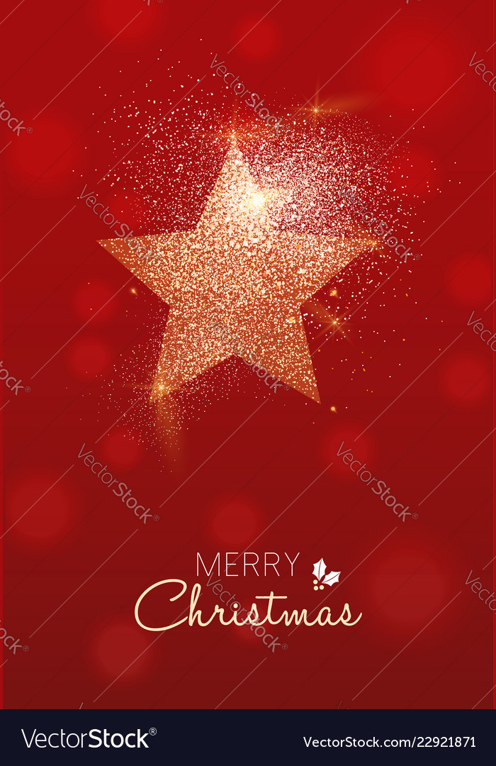 Merry christmas gold glitter star greeting card