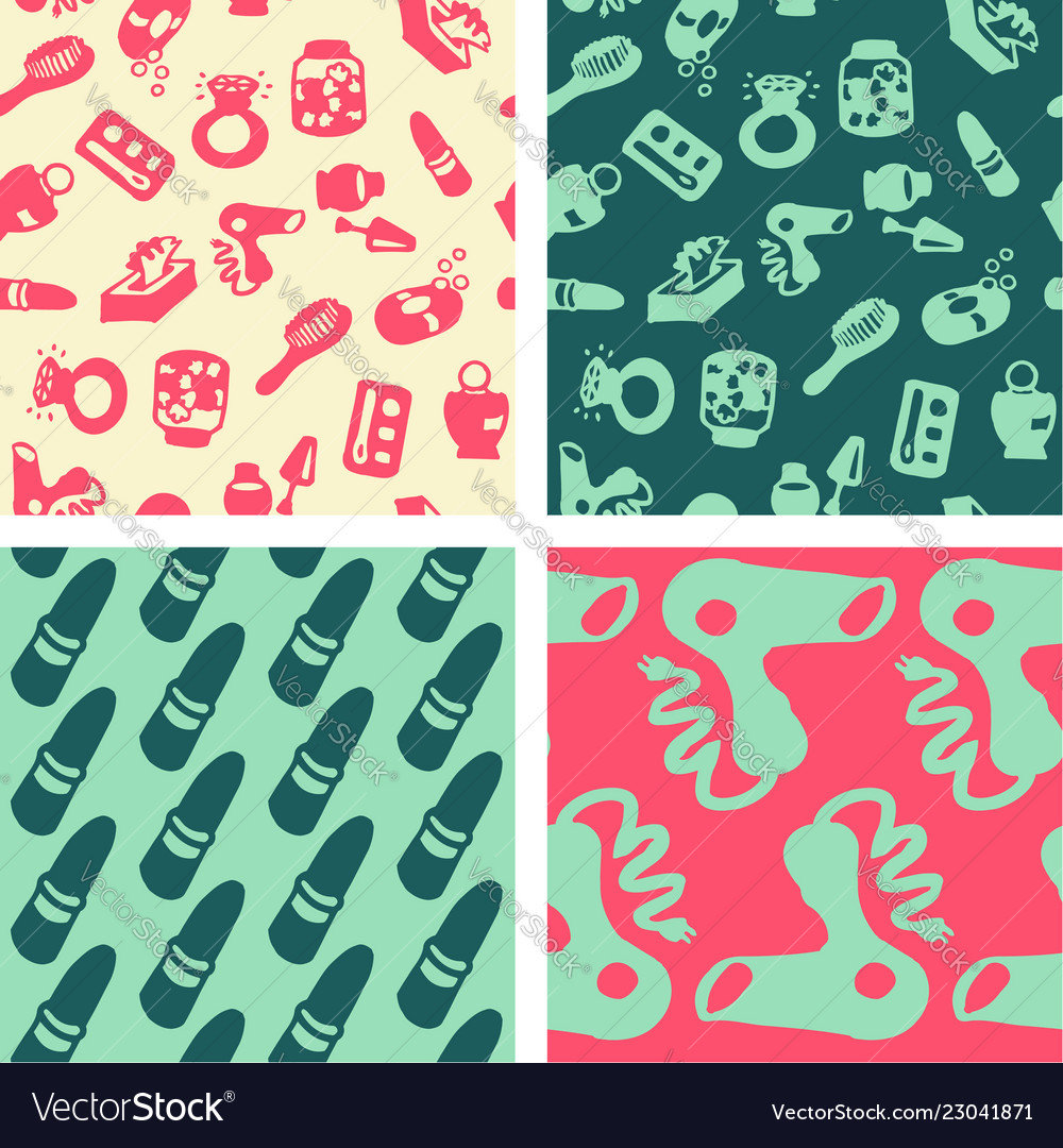 Seamless Patterns Hand Drawn Bathroom Objects Vector Image