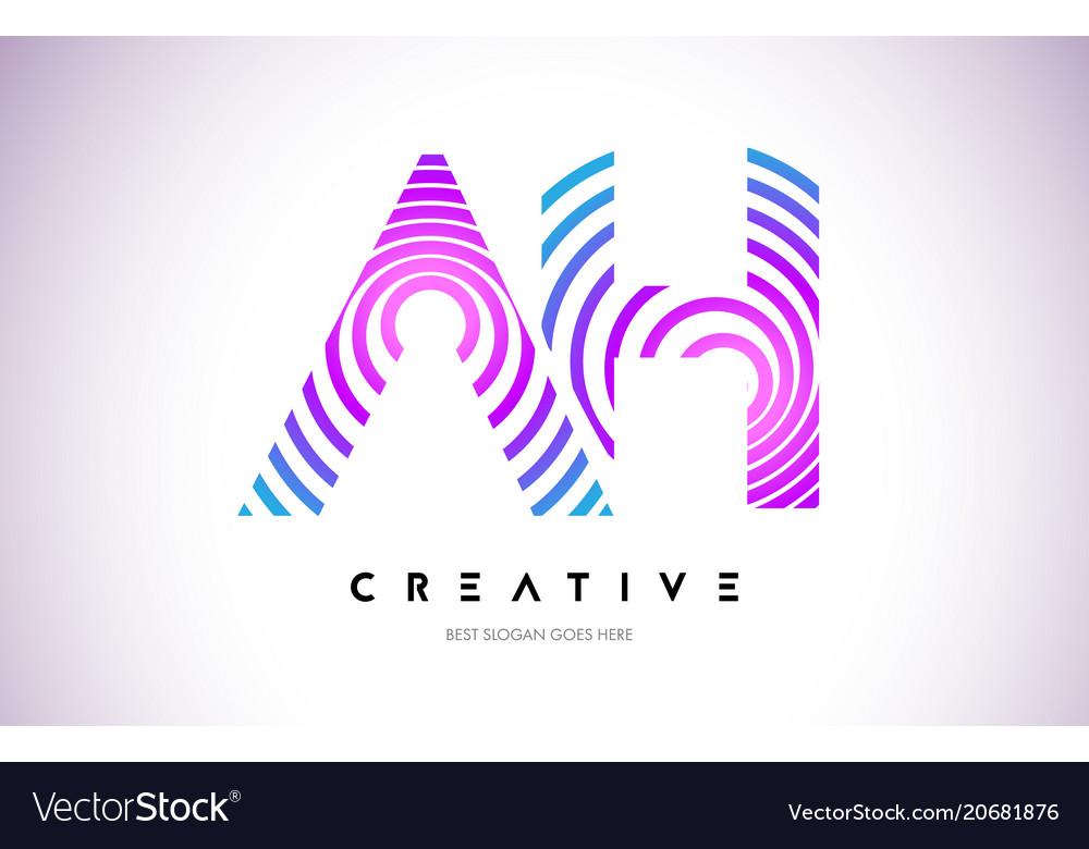 Ah lines warp logo design letter icon made