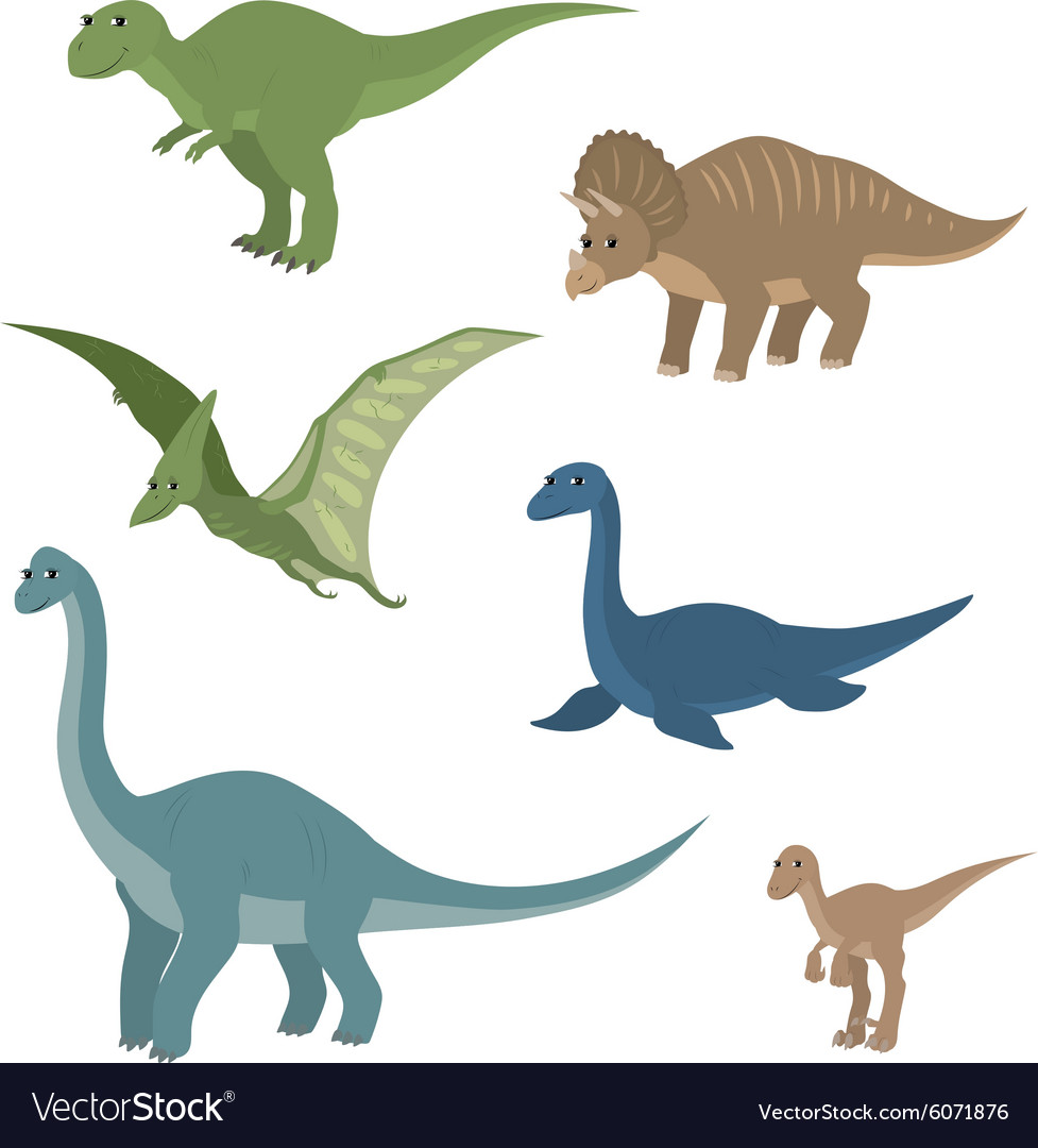 Cartoon set diplodocus plesiosaur pterosaur