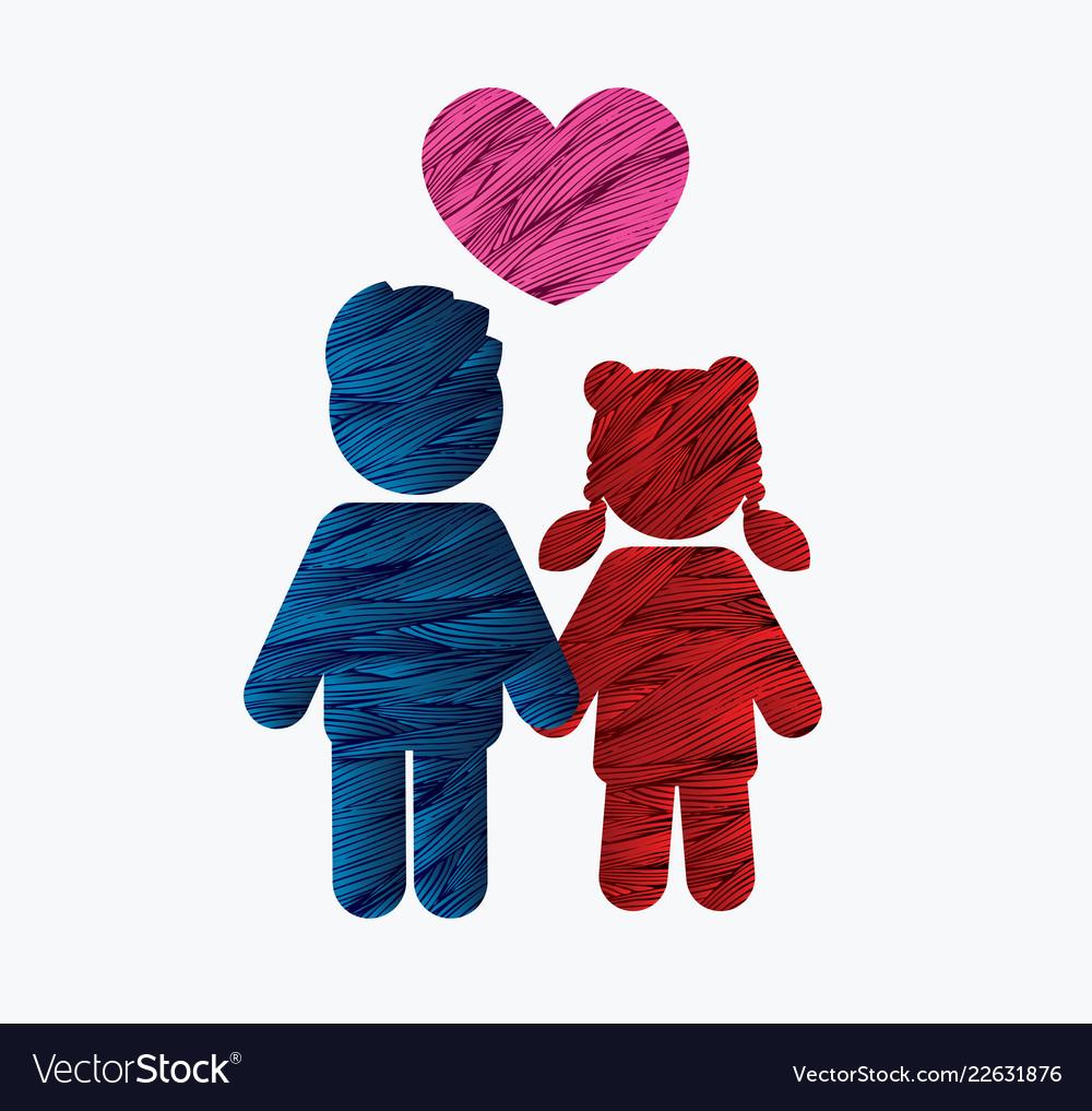 Children icon love icon couple icon with heart
