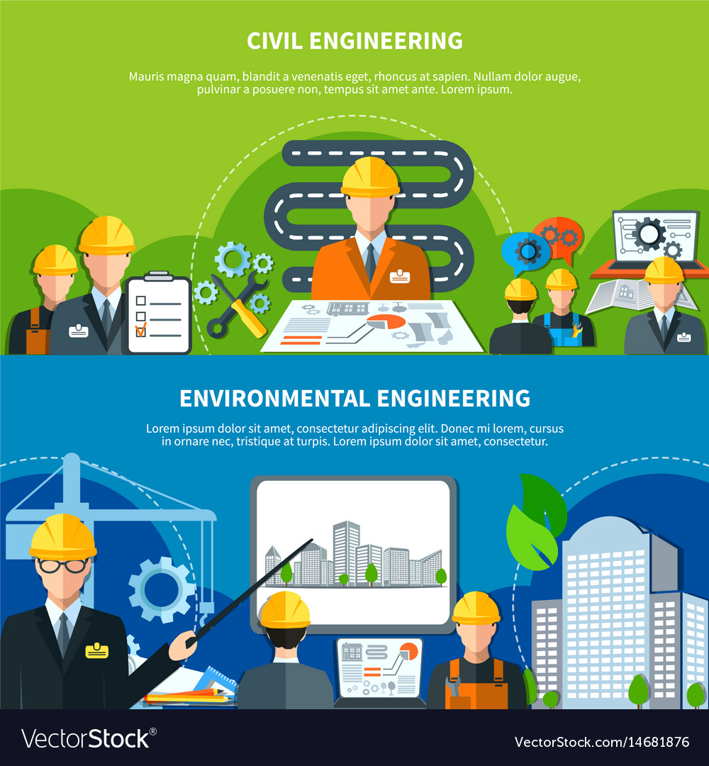 Civil engineering banners set vector image
