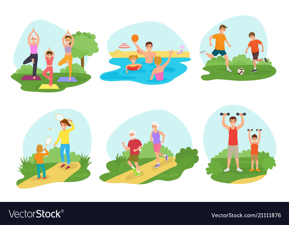 Family workout exercise active people mom