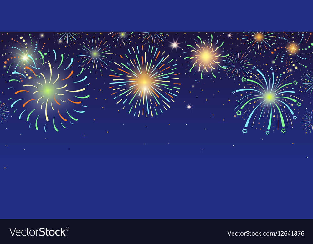 Festive banner with bright colorful firework