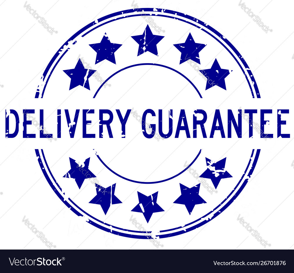 Grunge blue delivery guarantee word with star