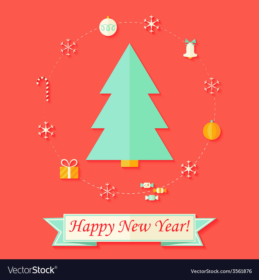 Happy New Year Card with Christmas Tree over Red