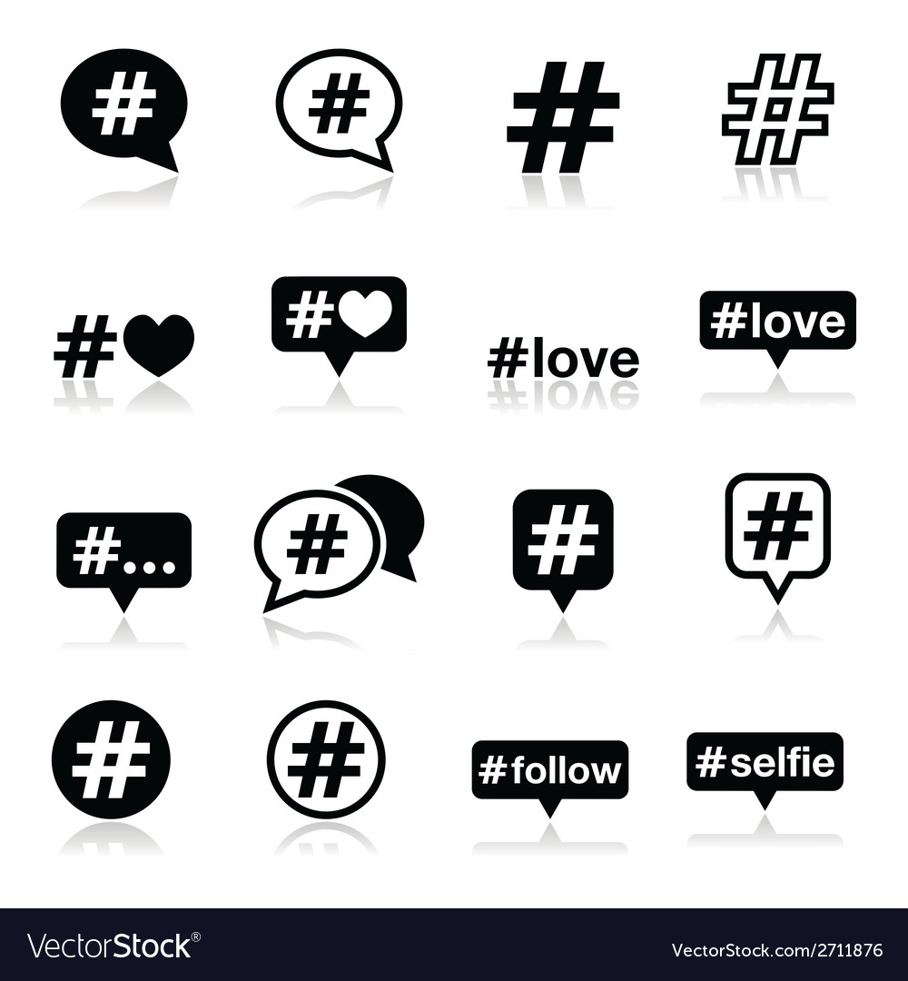 Hashtag social media icons set