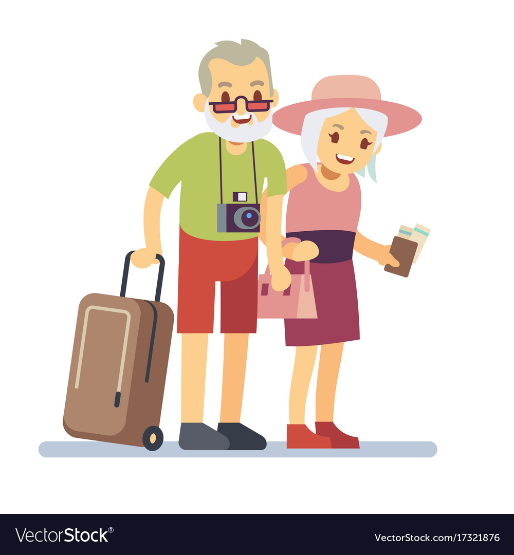 Image of: Three Old Old People Travelers On Holiday Smiling Vector Image Vectorstock Old People Travelers On Holiday Smiling Royalty Free Vector