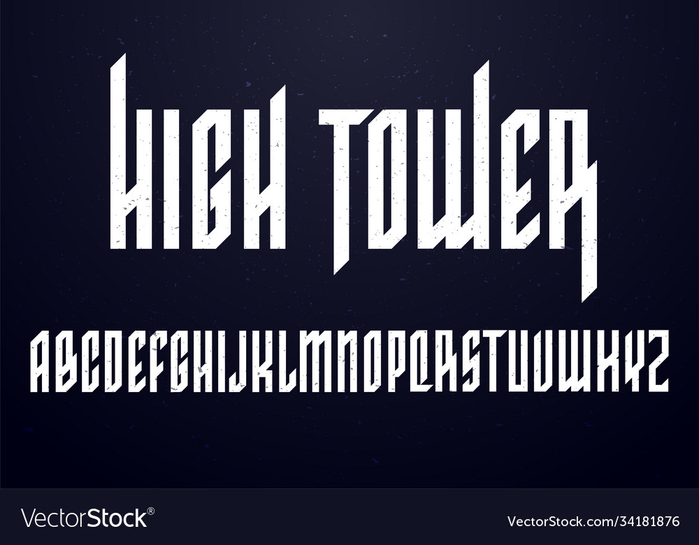 Old school font condensed typography