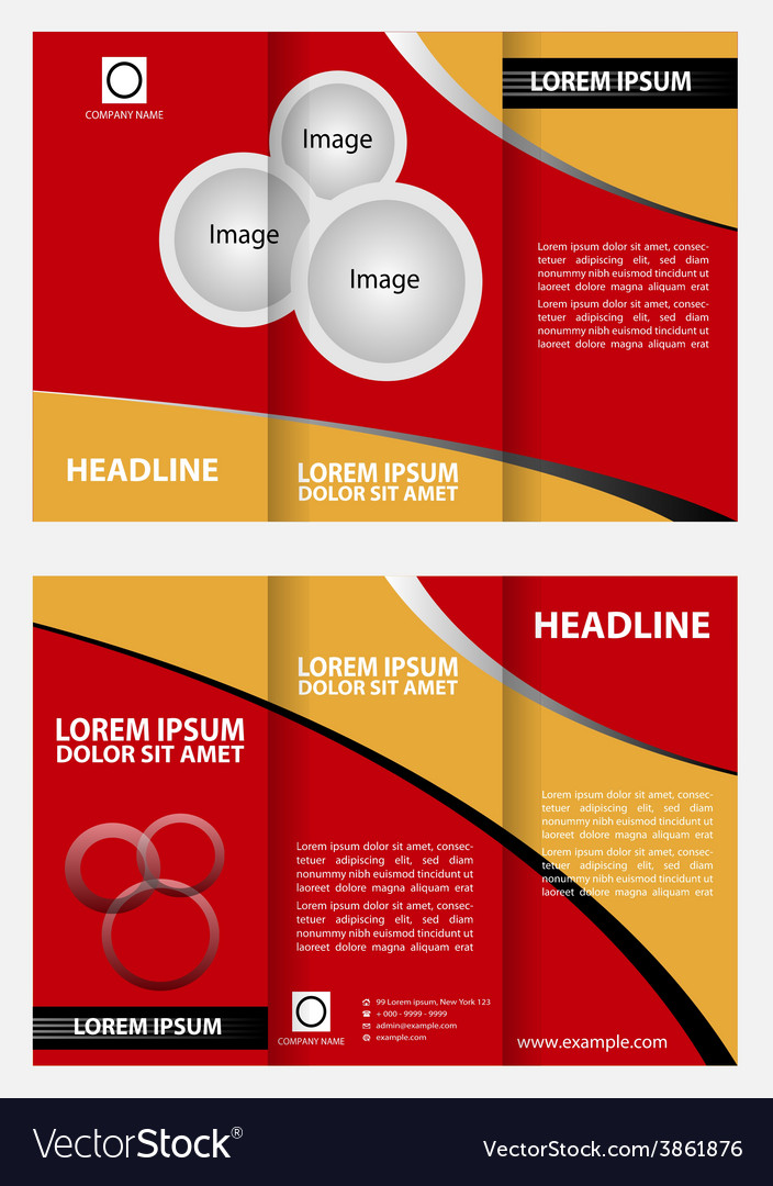 Red Brochure Tri Fold Template Design Royalty Free Vector