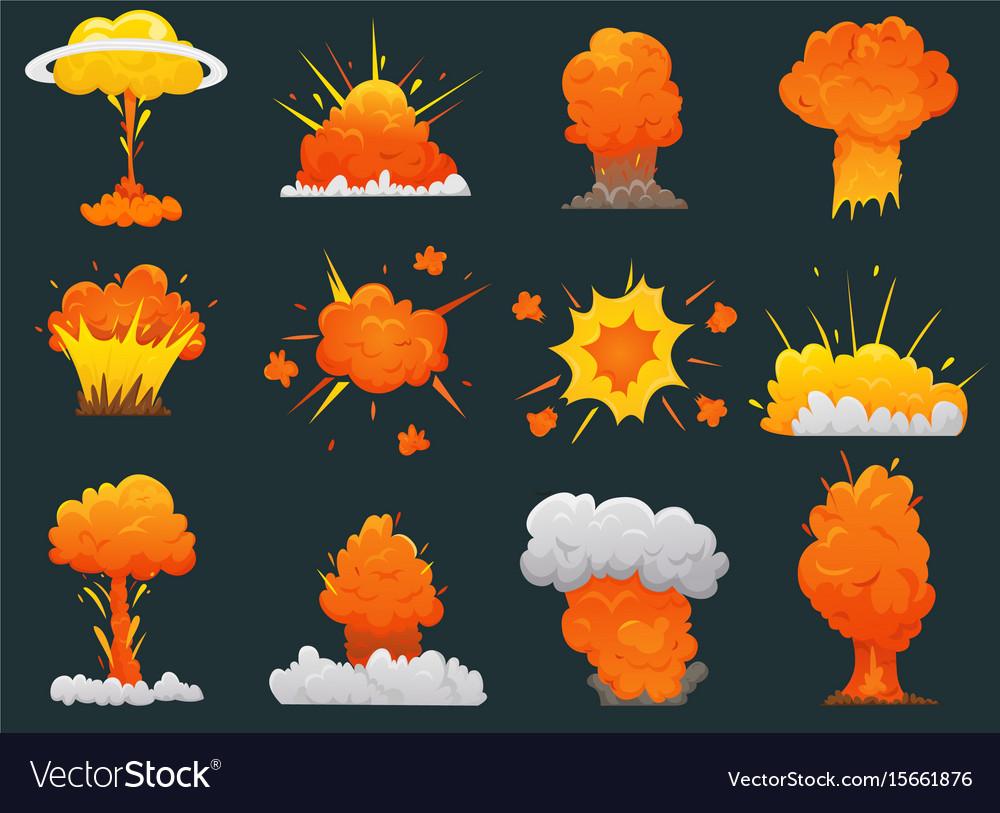 Retro cartoon explosion icon set