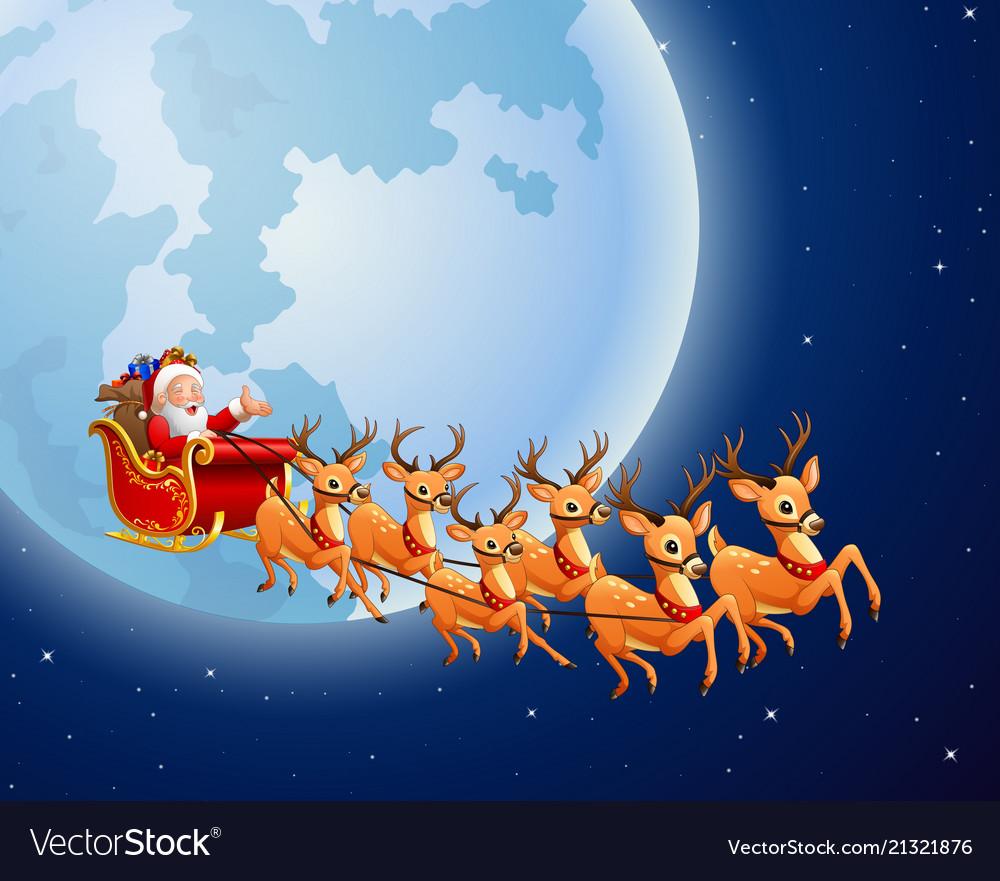 santa claus rides reindeer sleigh against a full m