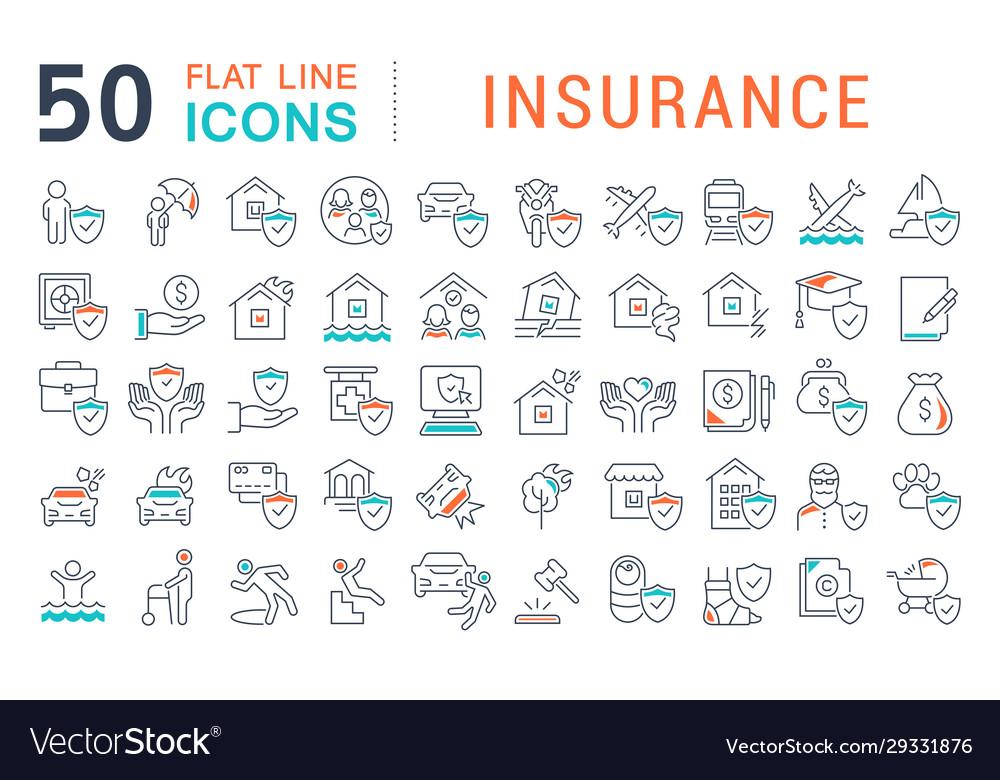 Set line icons insurance