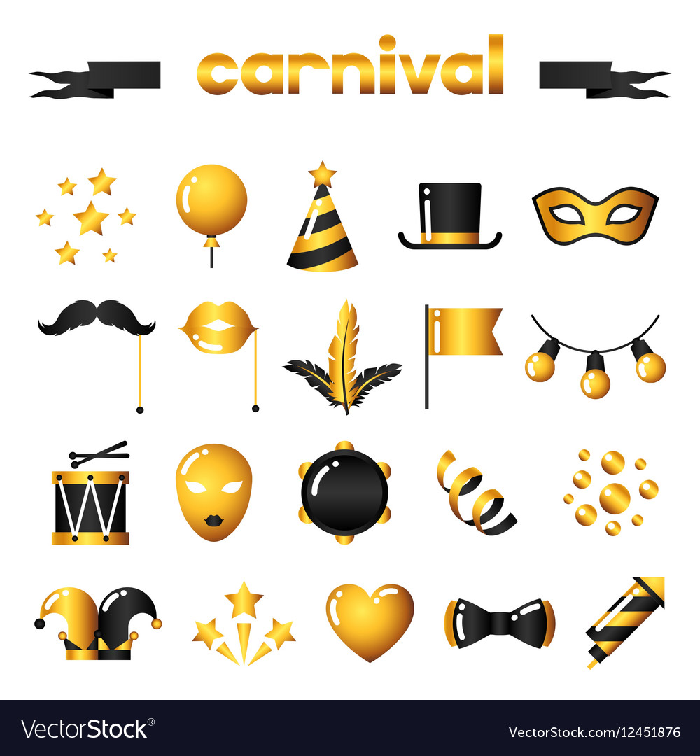 Set of carnival gold icons and objects