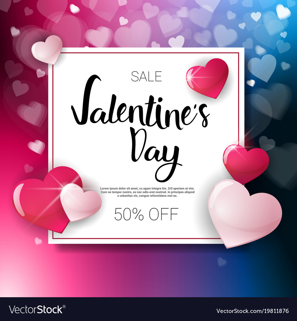 Valentine Day Sale Flyer Template With Copy Space Vector Image