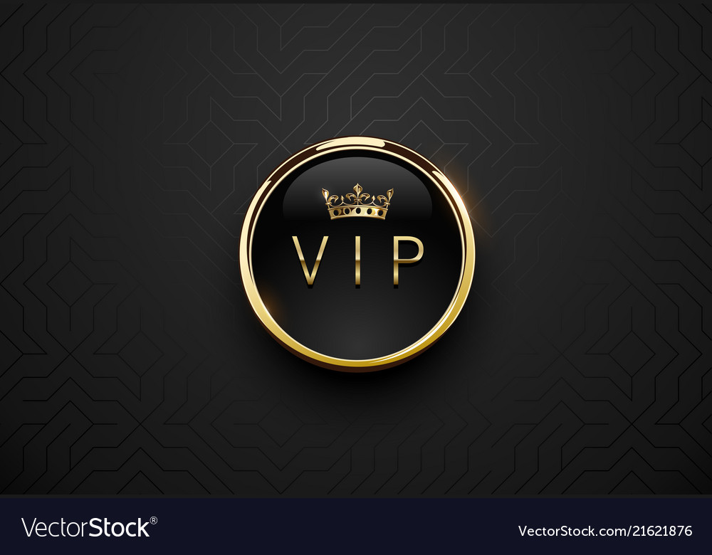 Vip black label with round golden ring frame and