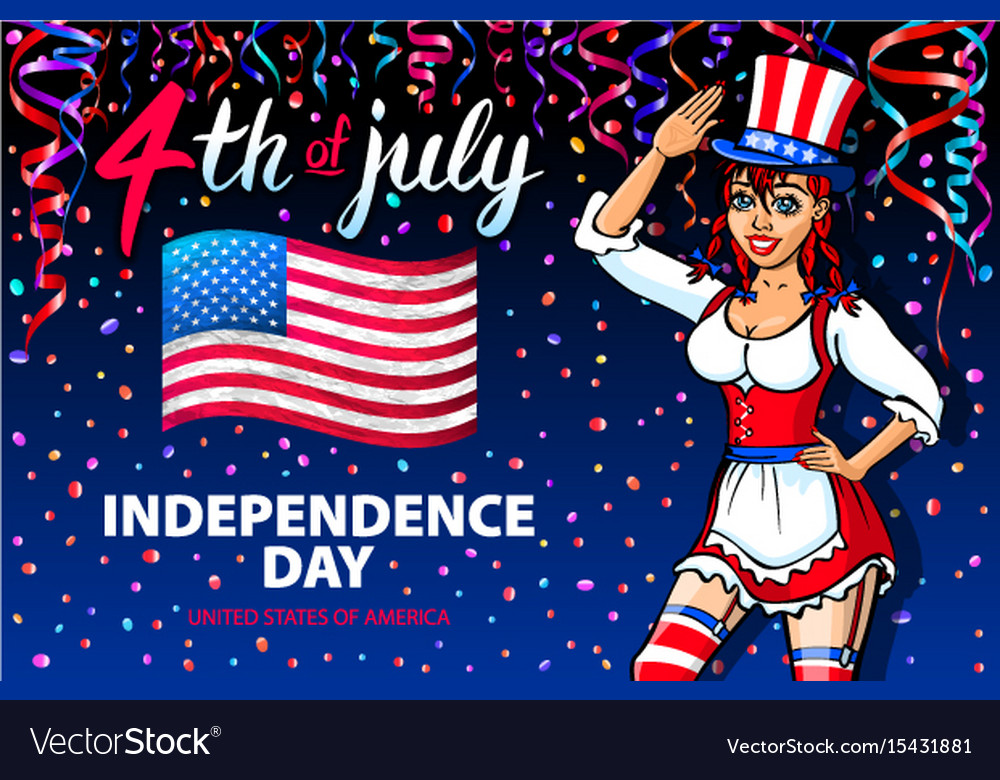 A girl celebrating independence day poster