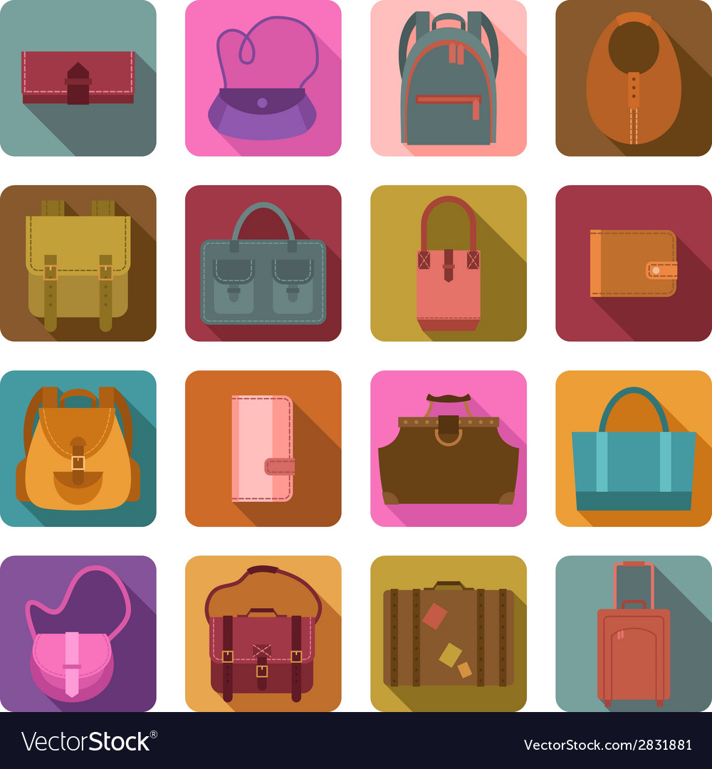 Bags colored flat icons set
