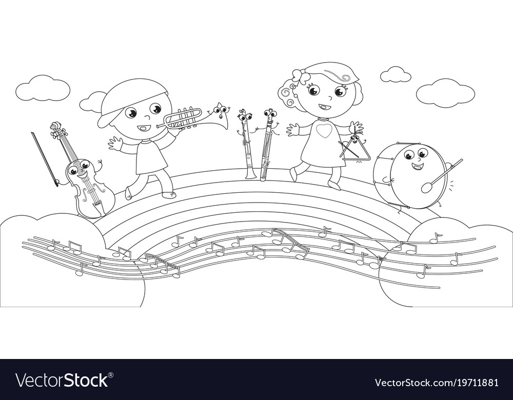 Coloring Musical Instruments And Children Vector Image