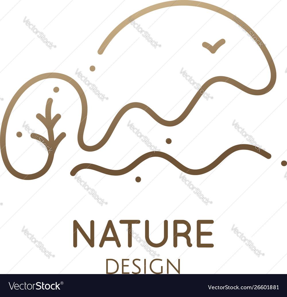 Continuous one line logo mountain landscape