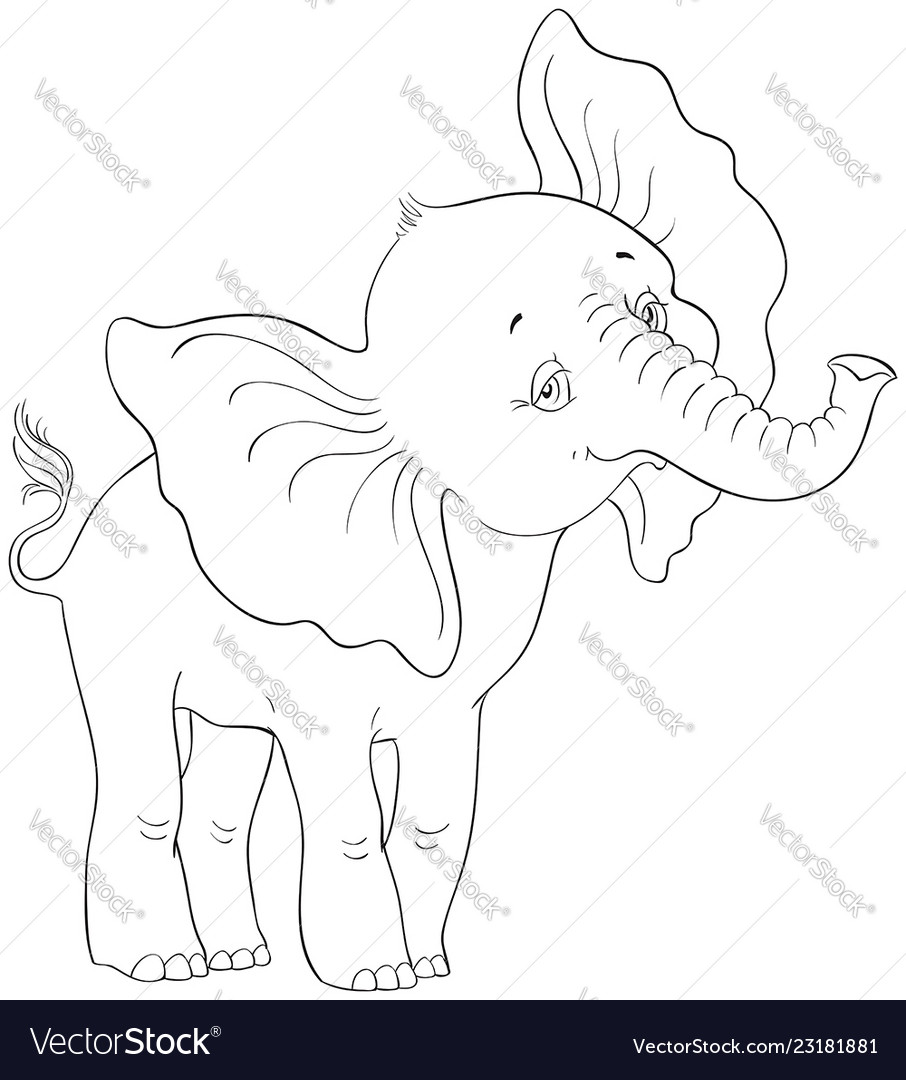 Cute cartoon baby elephant coloring page