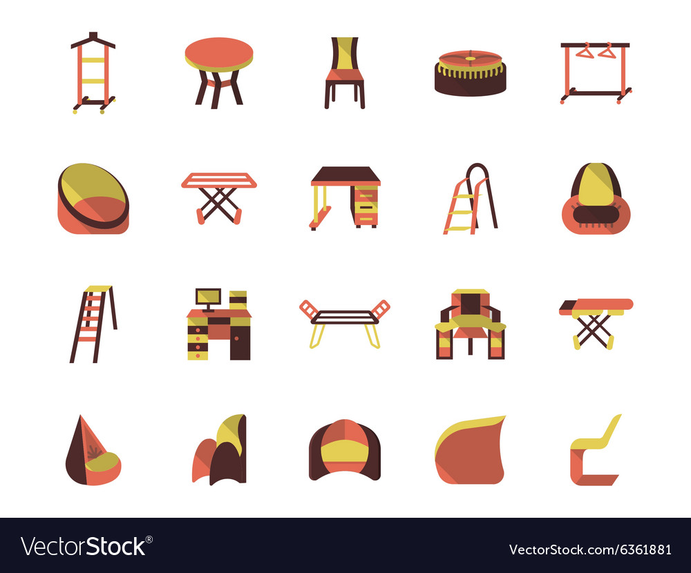 Flat color furniture icons vector image