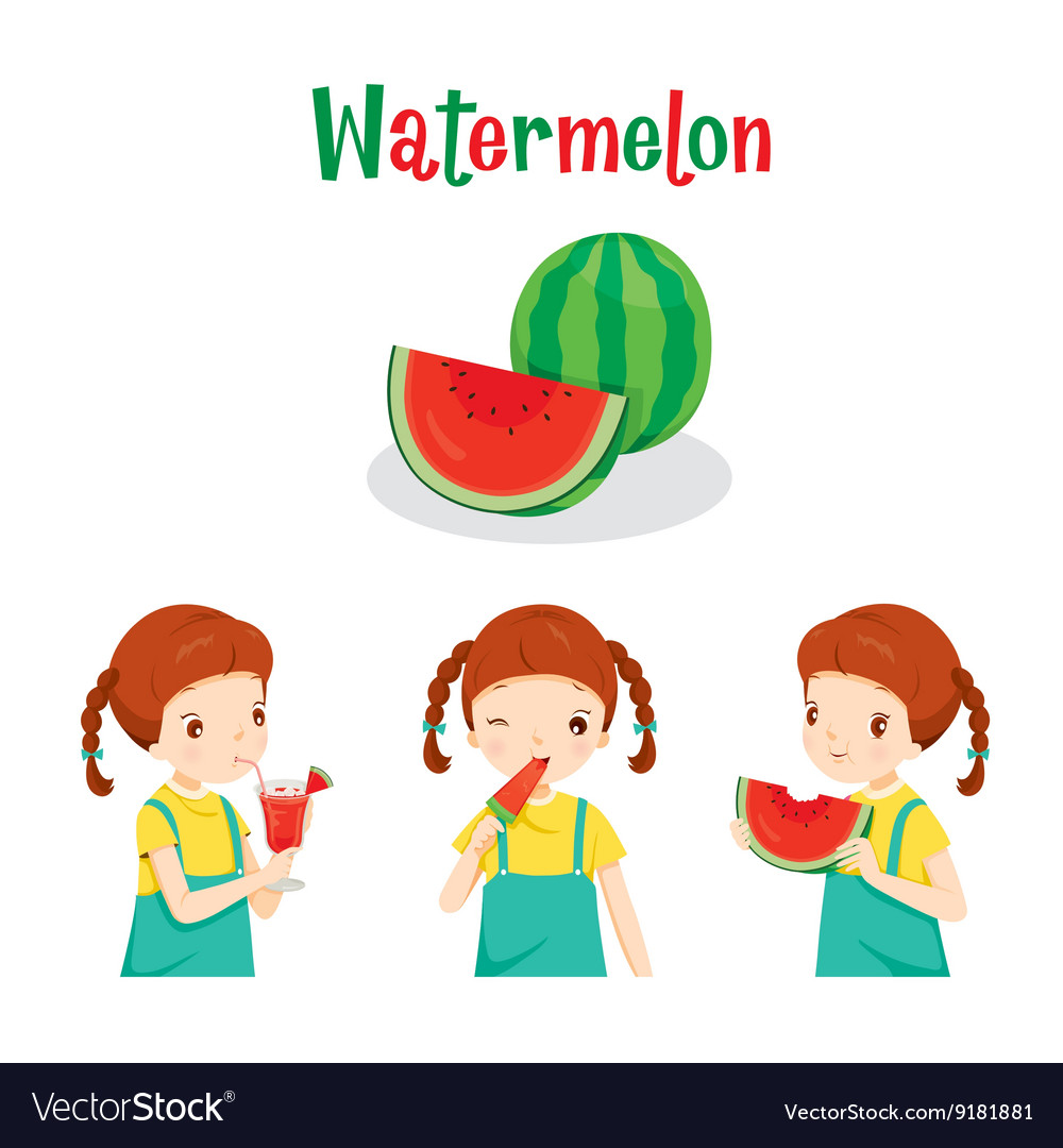 Girl With Watermelon Fruit Juice Ice Cream vector image