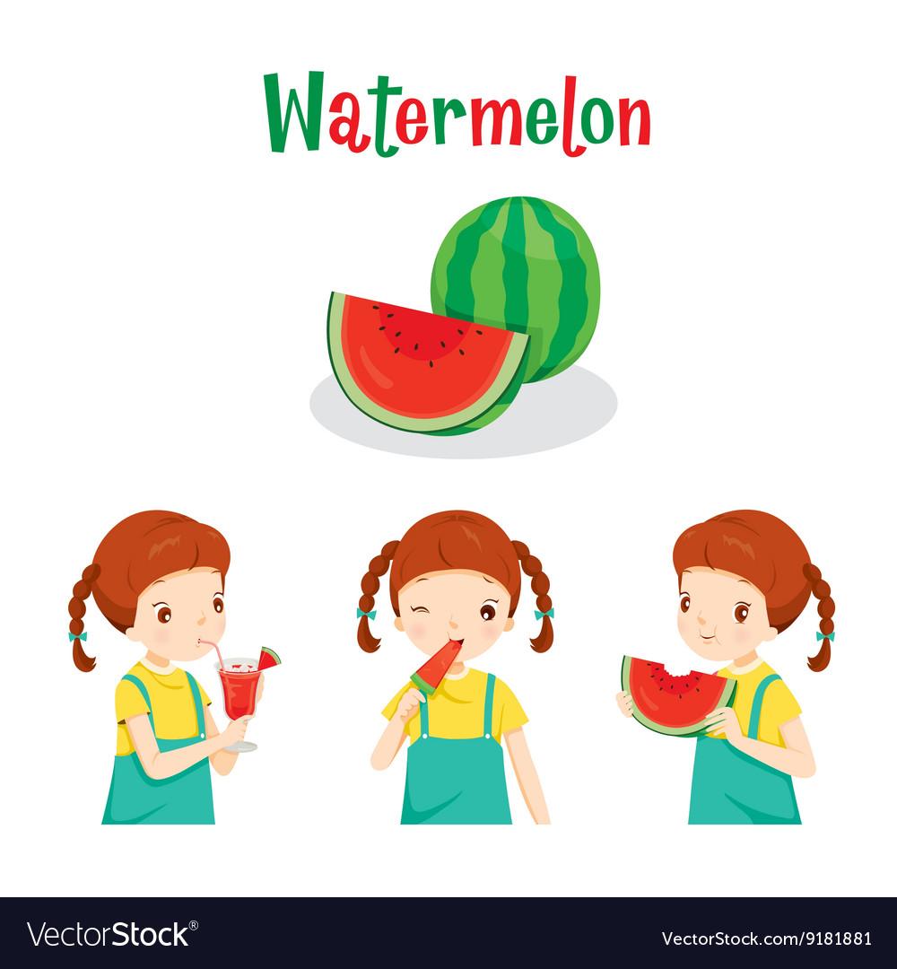 Girl With Watermelon Fruit Juice Ice Cream