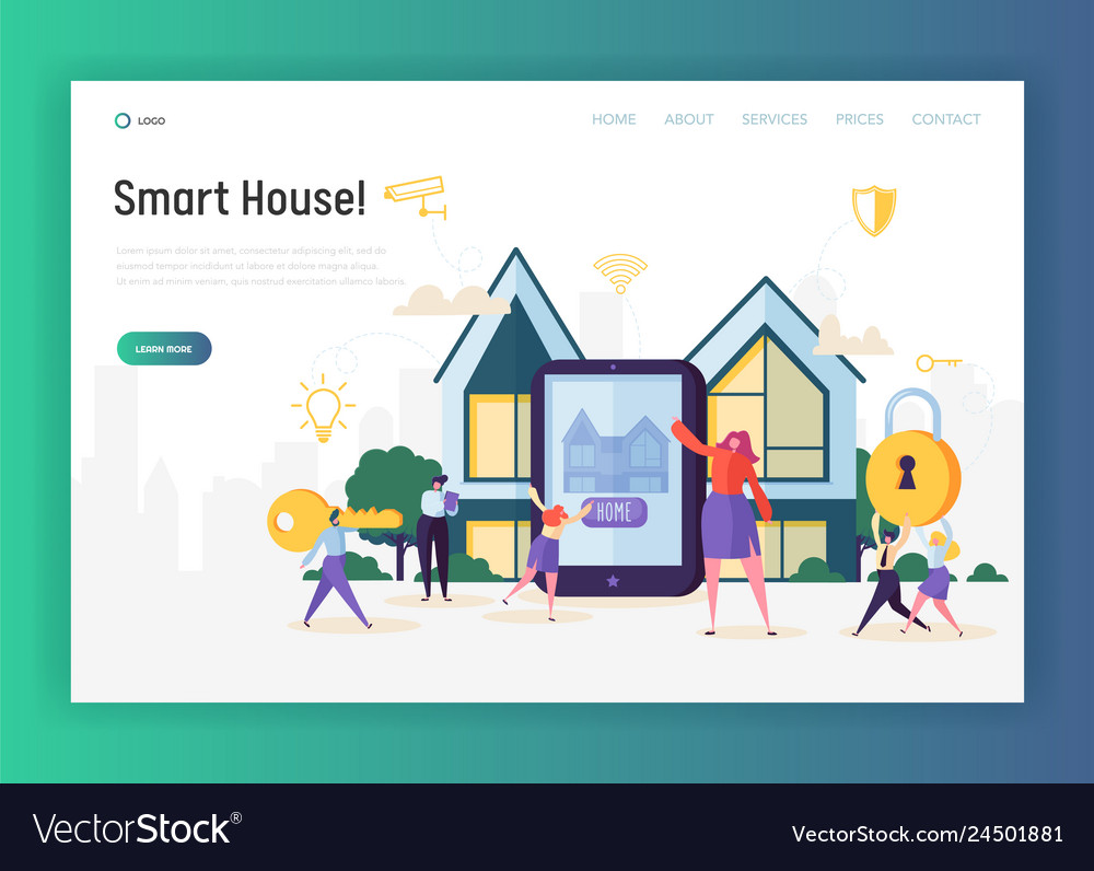 Home automation system landing page smart house