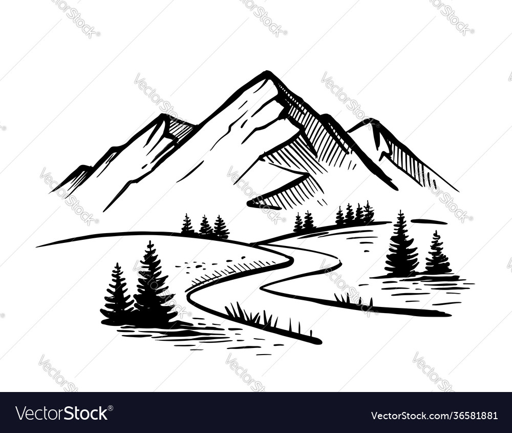 Landscape with large mountains nature sketch with