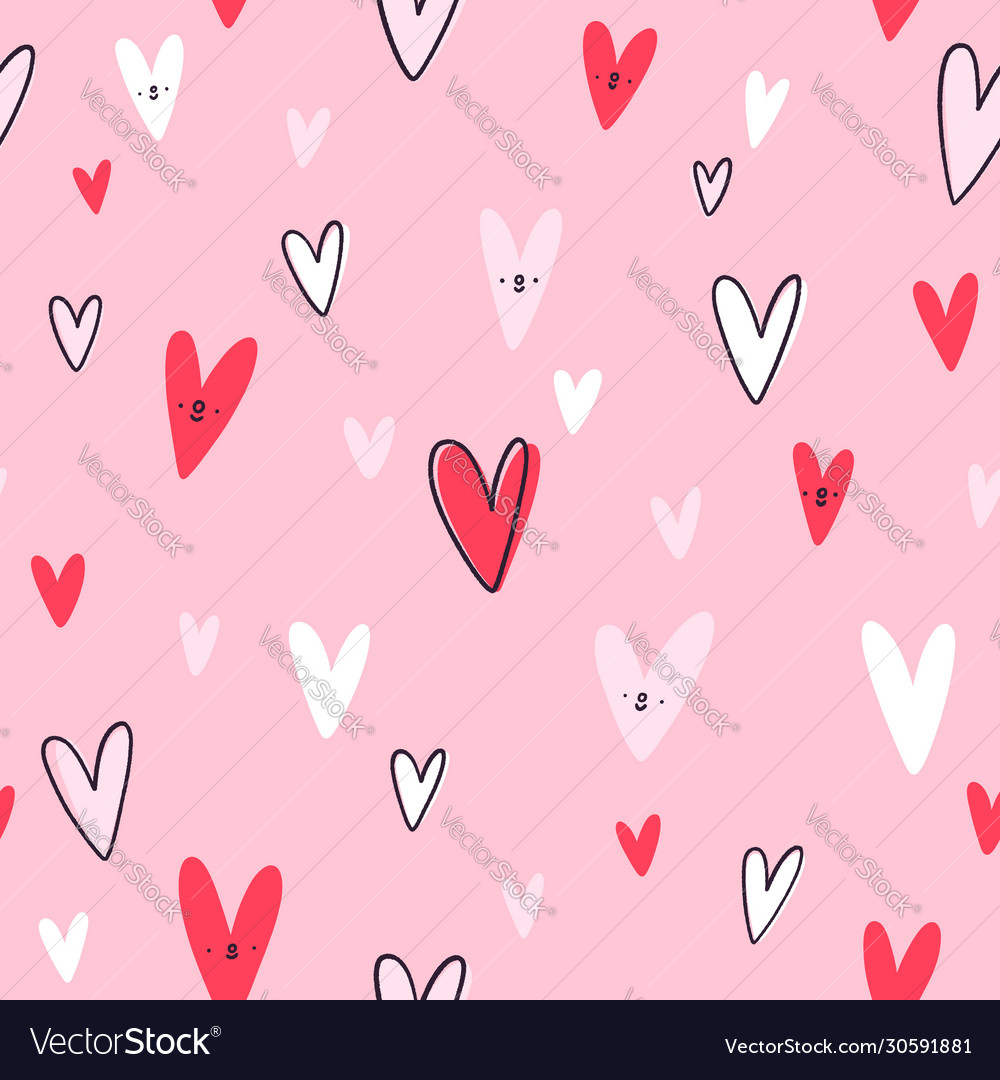 Lovely hearts seamless pattern