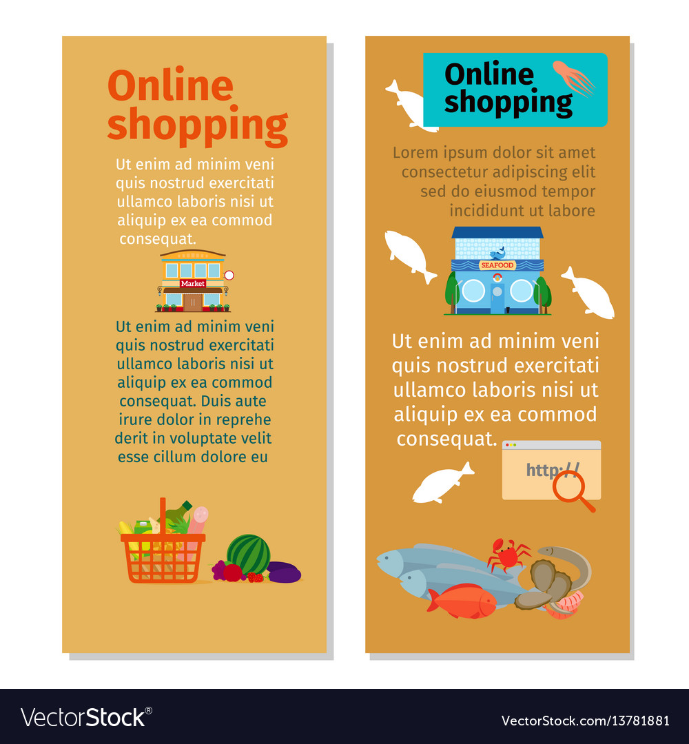 online shopping grocery flyers vector image