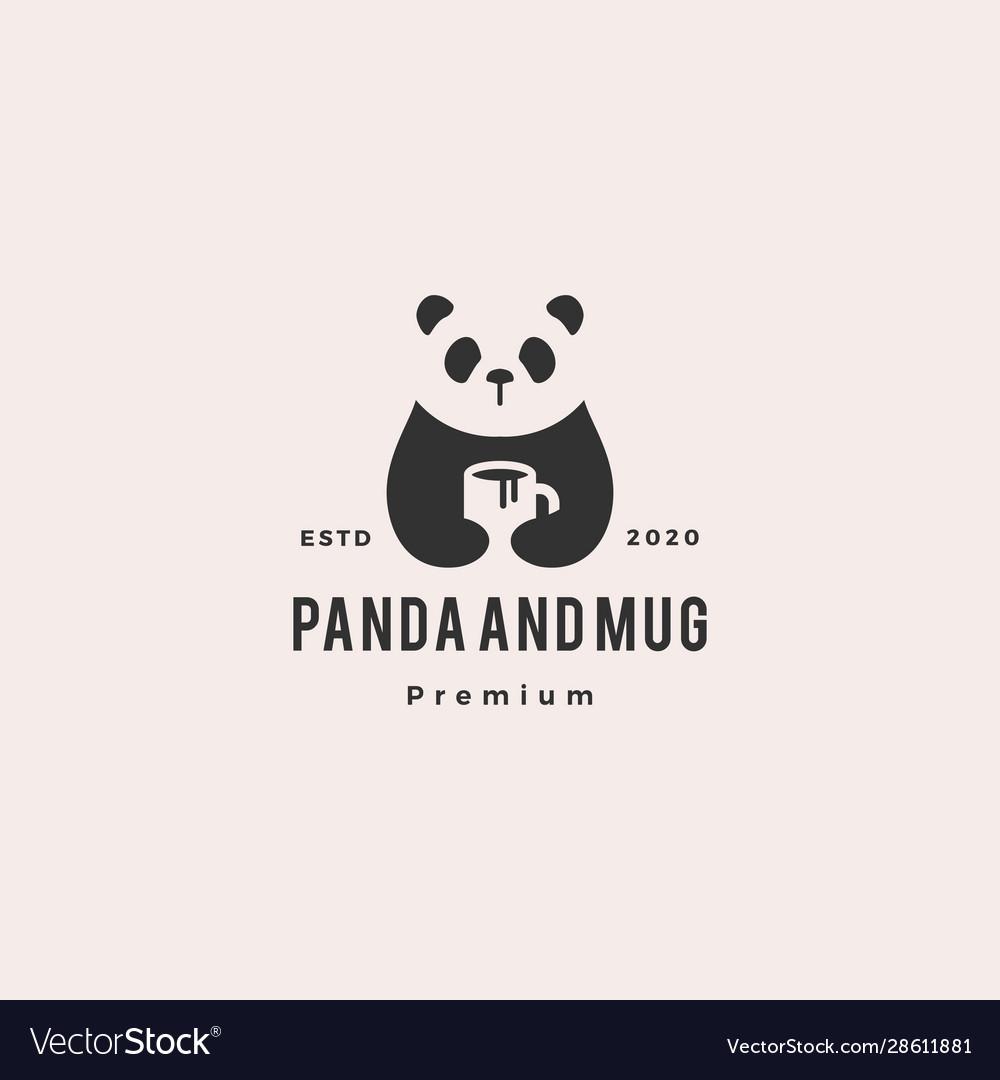 Panda coffee mug logo vintage hipster retro icon