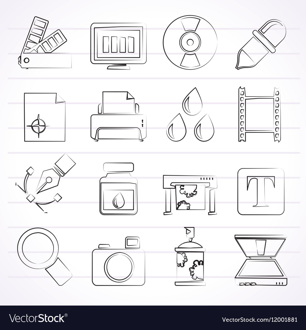 Print industry and graphic design icons vector image