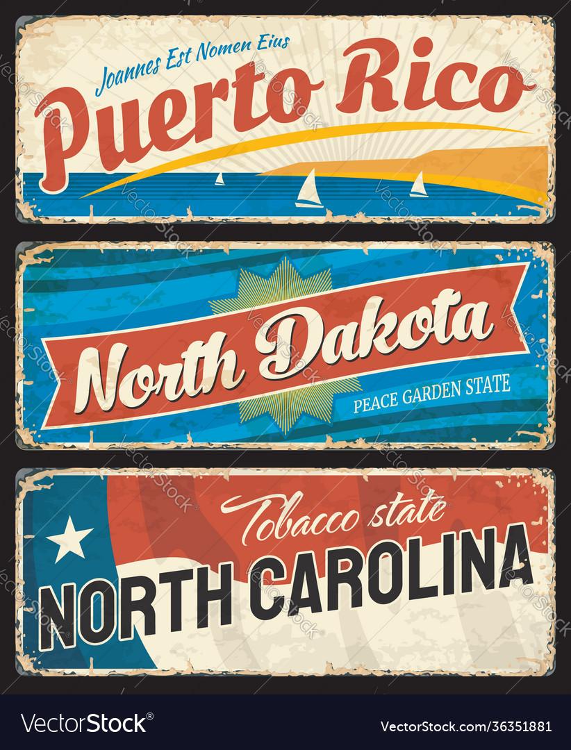 Puerto rico north dakota and north carolina plate