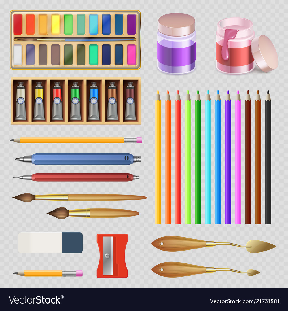 Realistic artistic tools isolated on transparent