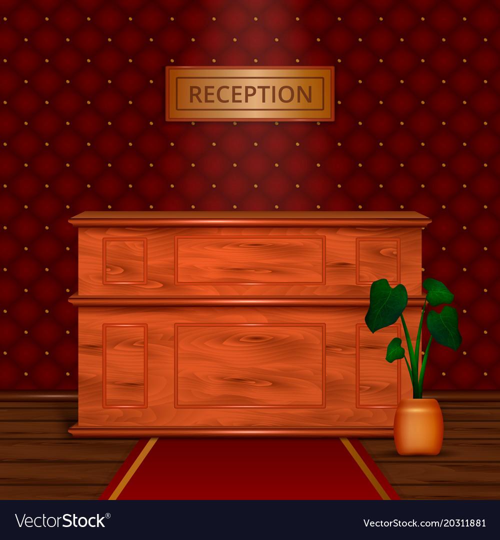 Reception Desk Hotel Interior Realistic Vector Image