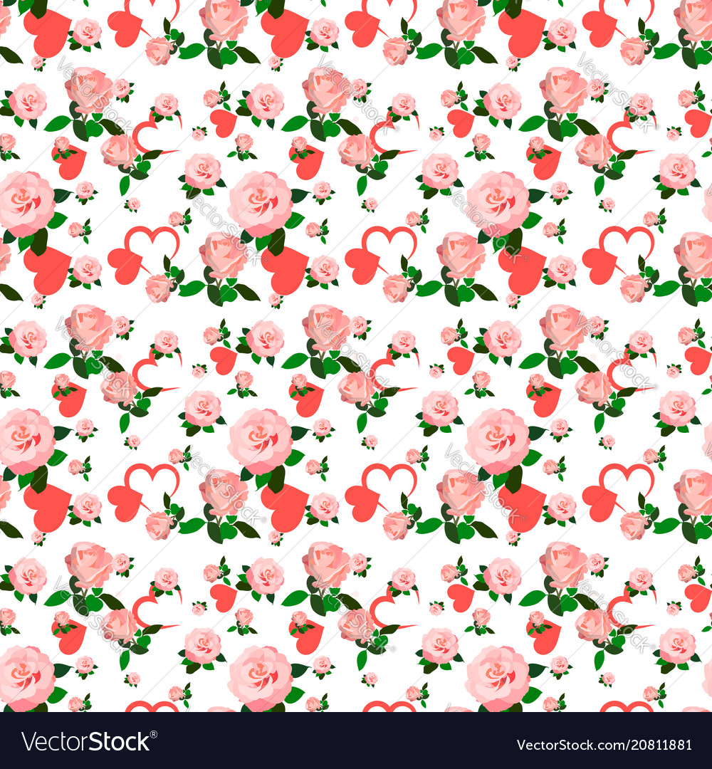 Seamless roses pattern for valentines day