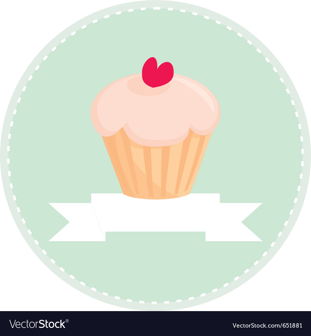 Sweet retro cupcake button with white place