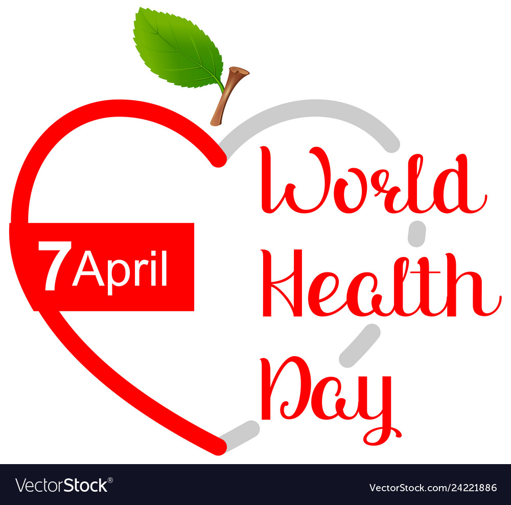 April 7 world health day greeting card heart shape