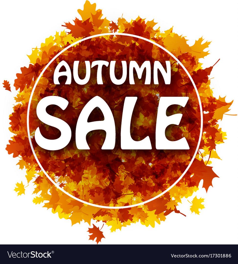 Autumn sale card with orange leaves