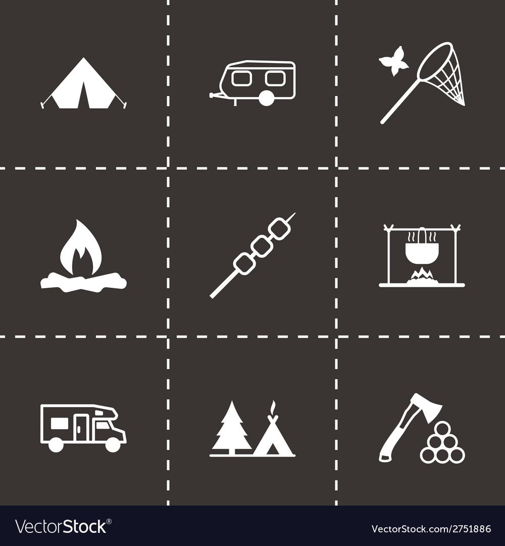 Black camping icons set
