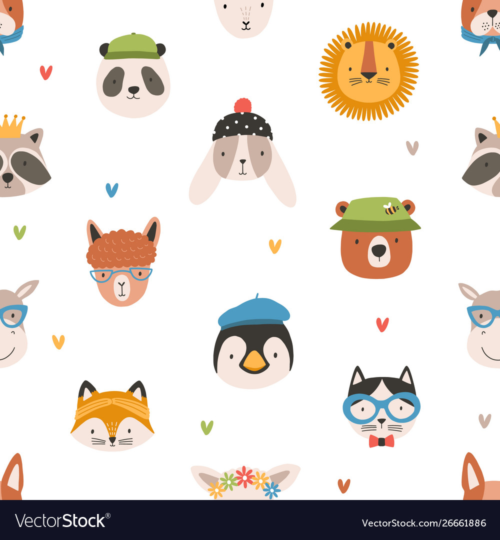 Childish seamless pattern with cute funny faces of