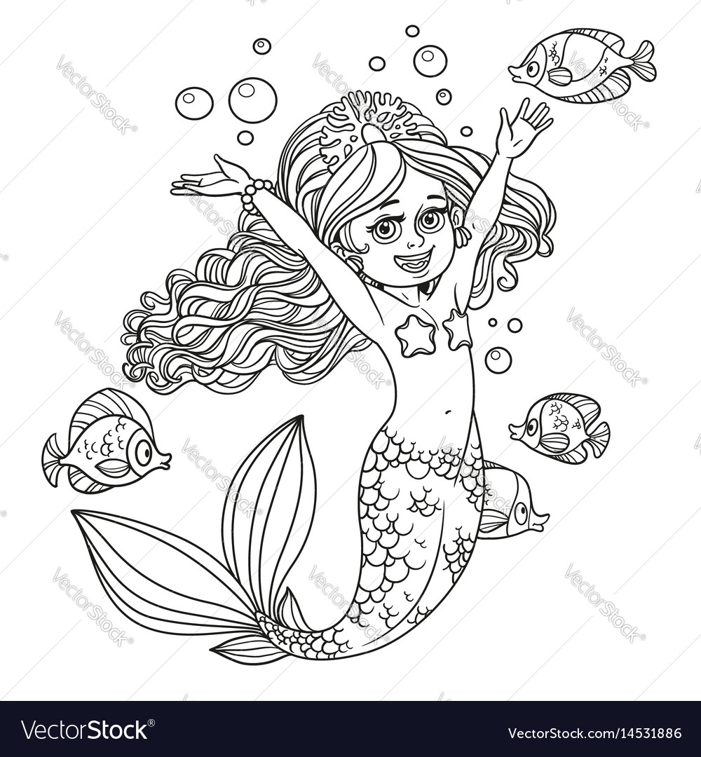 Cute happy little mermaid girl outlined isolated