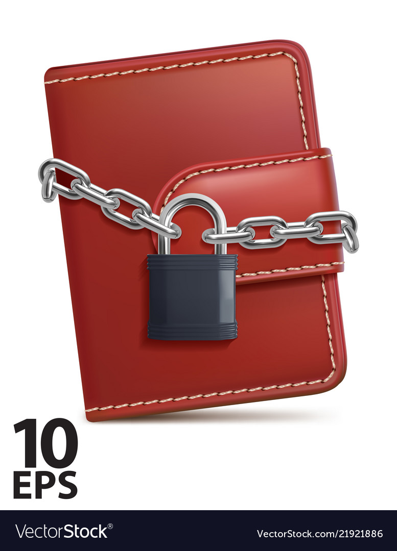 Leather wallet with padlock and chain on white