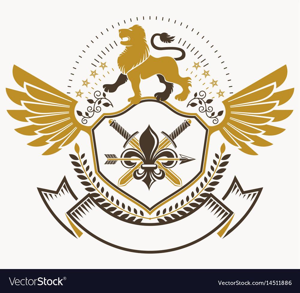Old style heraldry heraldic emblem